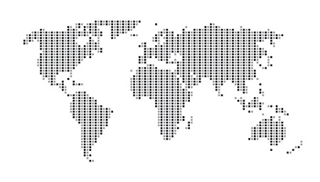 世界地図のドット マトリックス 2 つのトーン パターン グレー
