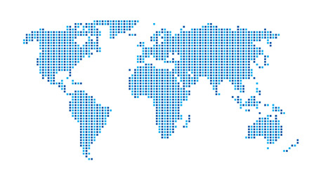 World Map  Dots Matrix Two Tone pattern  Blue
