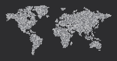 세계지도 육각형