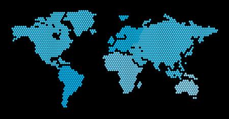 World Map Hexagon Ilustração