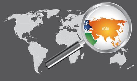 돋보기가있는 세계지도 - 아시아