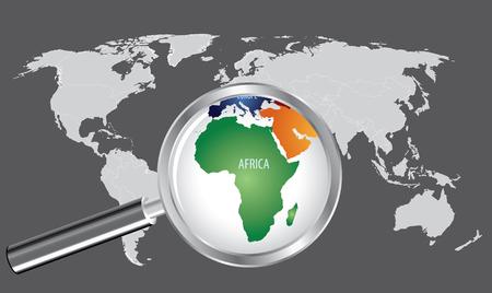 돋보기가있는 세계지도 - 아프리카 스톡 콘텐츠