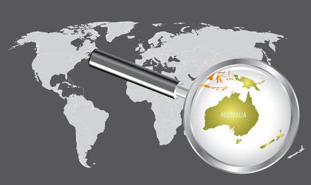 돋보기가있는 세계지도 - 호주