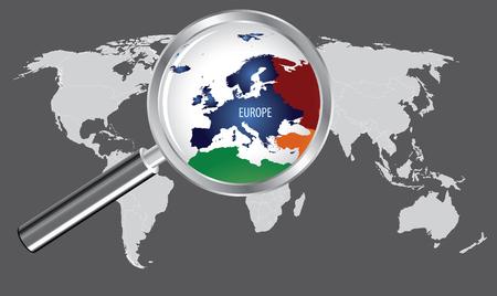돋보기가있는 세계지도 - 유럽 스톡 콘텐츠