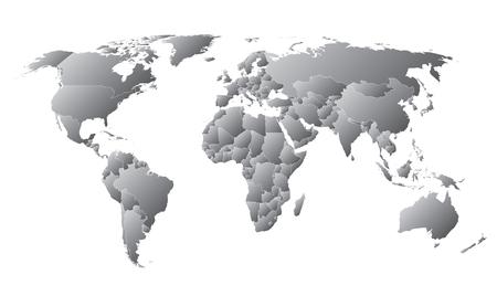 World Map Countries Gray linear gradient Standard-Bild