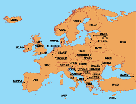 Europe Map with country names Illustration