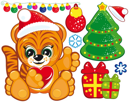 Tiger in the Santa hat and a set of Christmas items Vector