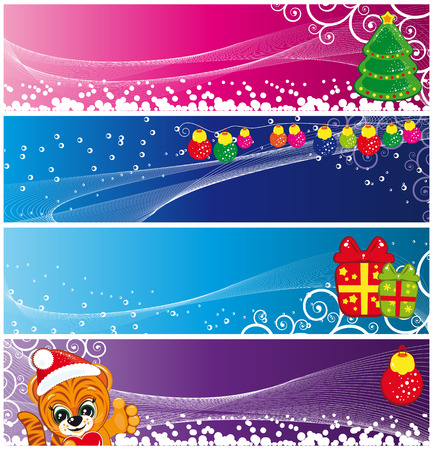 Set of Christmas banners with Tiger, Christmas Tree and presents. Vector