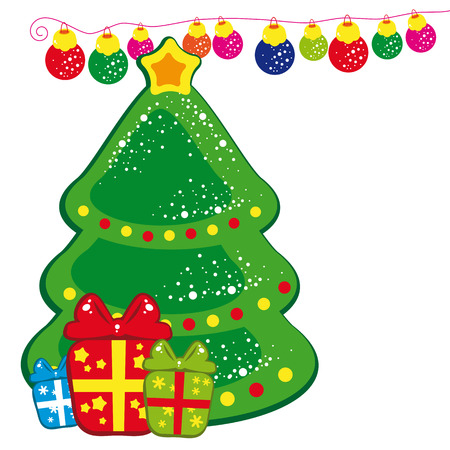 Christmas background - Christmas tree and presents. Stock Vector - 6327016