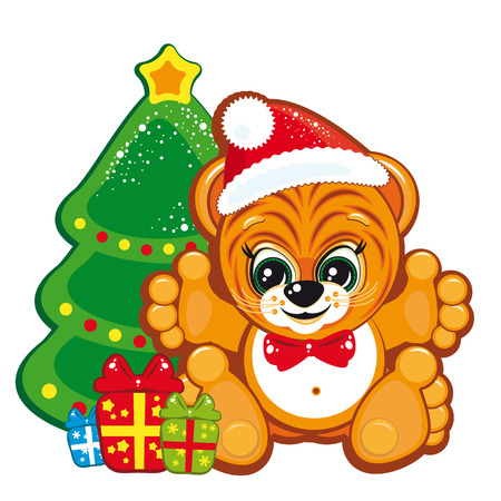 Tiger in the Santa hat  with the Christmas tree and gifts Stock Vector - 6327021