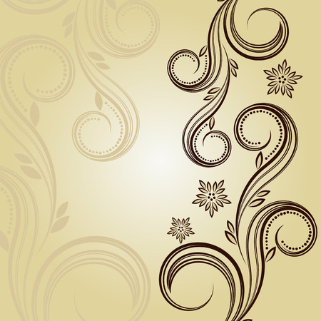 famous place: Vintage background with curled elements.