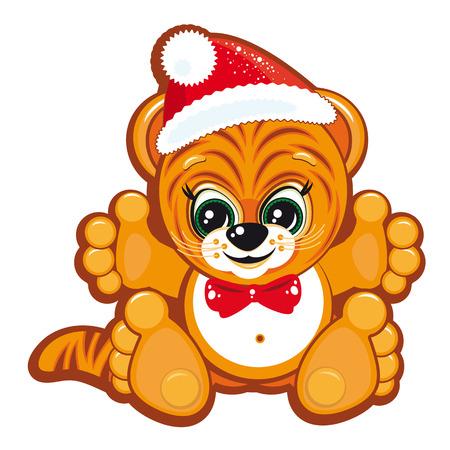 Tiger in the Santa hat Vector