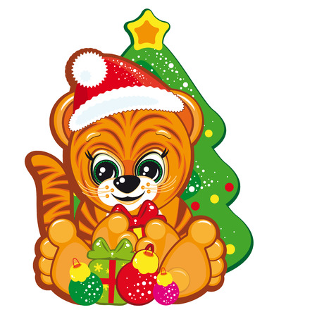 Tiger in the Santa hat  with the Christmas tree and gifts Stock Vector - 6349398
