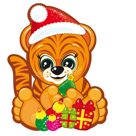 Tiger in the Santa hat with presents Vector