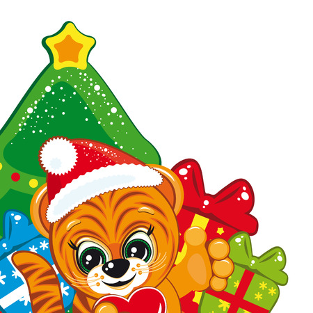 Tiger in the Santa hat  with the Christmas tree and gifts Vector