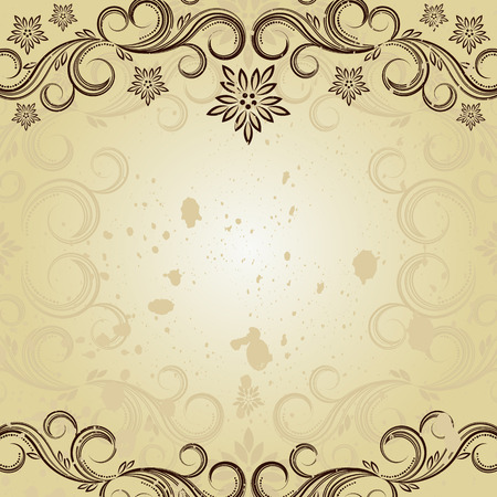 Vintage background with curled elements. Vector