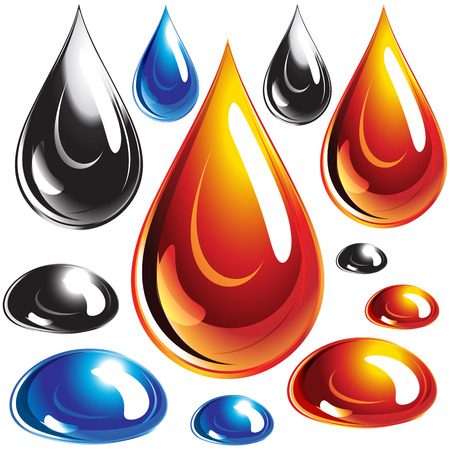 Set of oil and water drops Vector