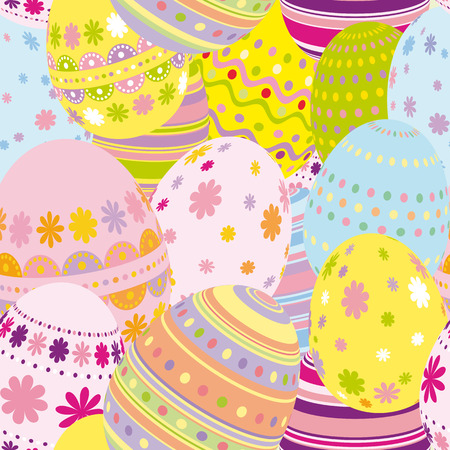 dotted lines: Seamless easter eggs background - an illustration for your design project.