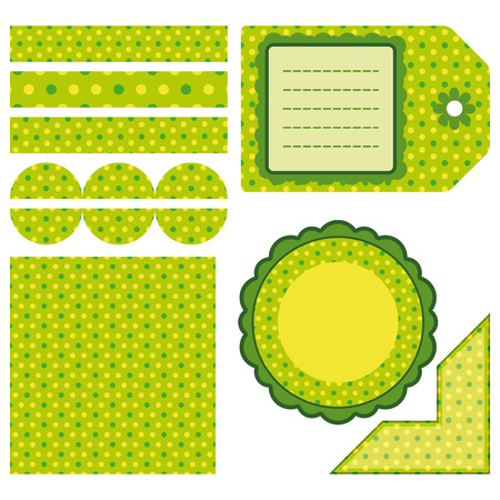 Easter set of green design elements - an illustration for your design project. Vector