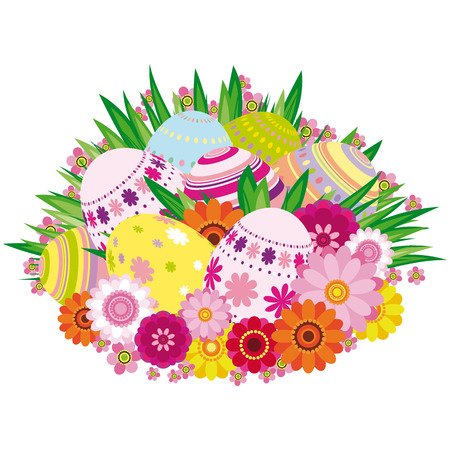 Floral background with Easter eggs - an illustration for your design project. Vector