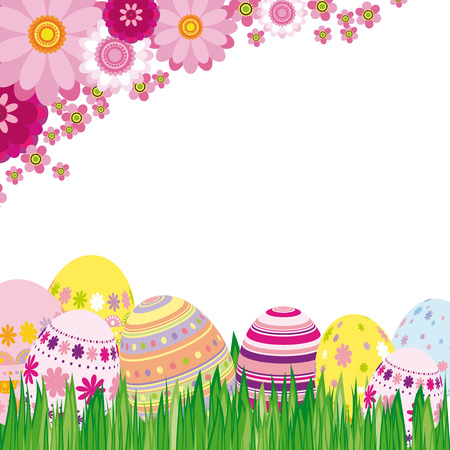 photoalbum: Floral background with Easter eggs - an illustration for your design project.