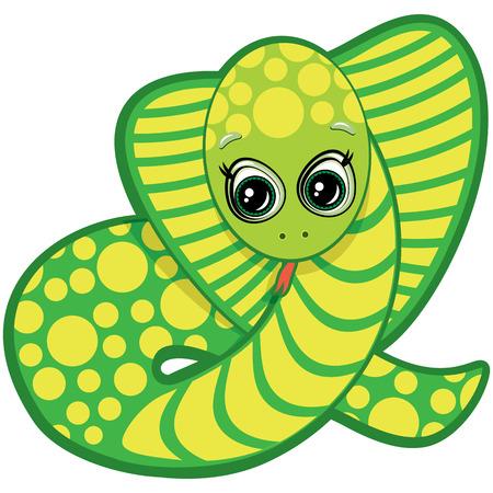 serpiente cobra: Snake poco - uno de los símbolos del Horóscopo Chino Vectores