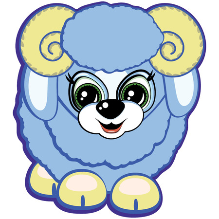 Little ram - one of the symbols of the Chinese horoscope Vector