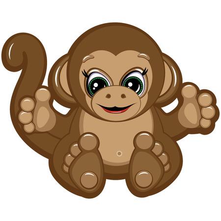 Little Monkey - one of the symbols of the Chinese horoscope Illustration