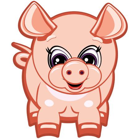chinese pig: Little Pig - uno de los s�mbolos del Hor�scopo Chino Vectores