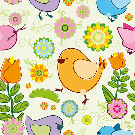 Seamless background with cartoon birds Vector