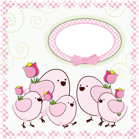 cartoon birds: Background with cartoon birds.   Illustration