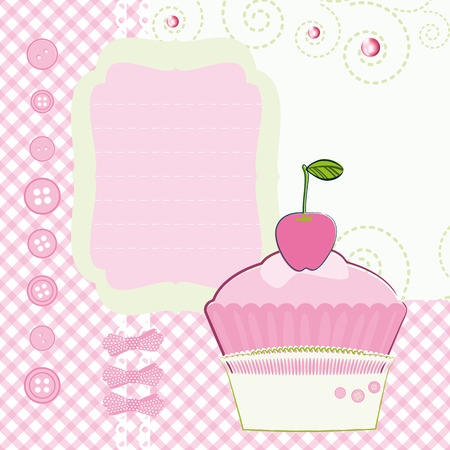 Background with cartoon Cake. Mothers Day. Vector