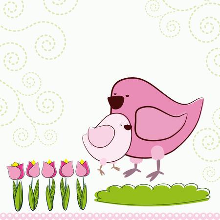 pink cell: Fondo con aves de dibujos animados.