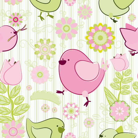 Seamless background. Birds and flowers. Vector