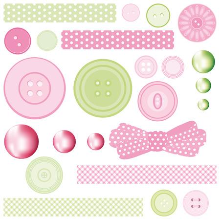 pink cell: Conjunto de botones y perlas.  Vectores