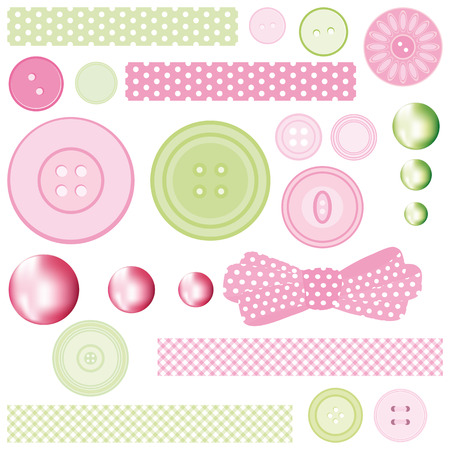 craft button: Set of Buttons and Pearls. Illustration