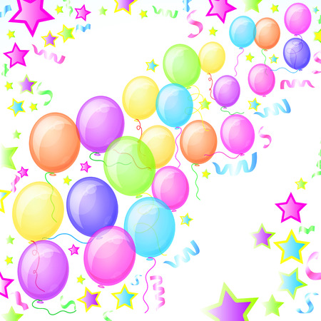 Party Balloons and Stars - Illustration for your design. Vector
