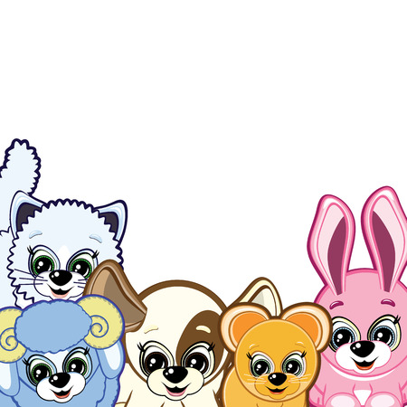 Little Animals - smiling cartoon for your design Vector