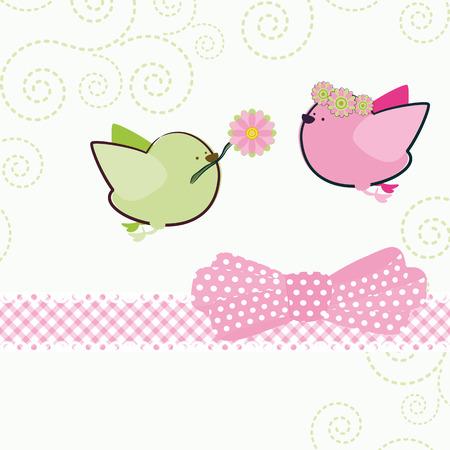 Background with cartoon birds.   Vector
