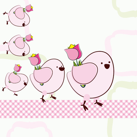 a pink cell: Background with cartoon birds.   Illustration