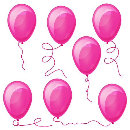 Set of Pink balloons with strings. Eps10. Illustration for your design. Vector