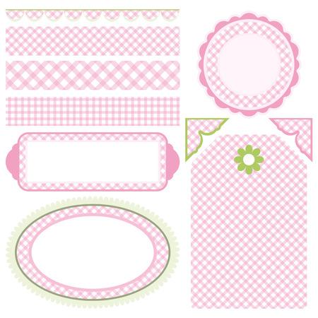 pink cell: Conjunto de elementos para el dise�o.  Colecci�n para mam�. Motivo de la c�lula.  Vectores