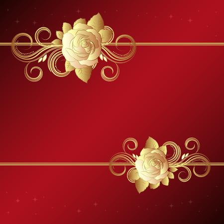 Valentine background with gold roses,  illustration - Illustration for your design Vector