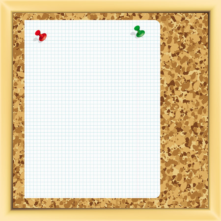 cork board:  Pins on a cork notice board. - Illustration for your design