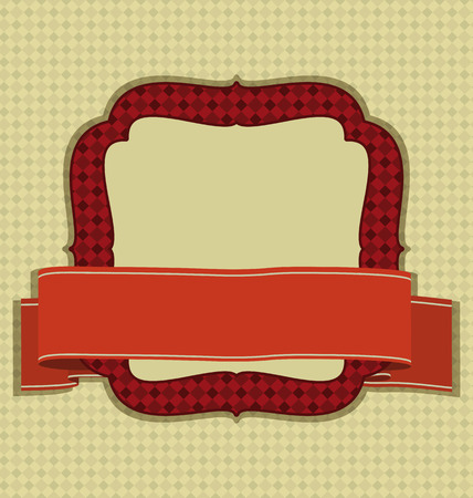 Vintage frame with ribbon and space for text. An illustration for your design project. Vector