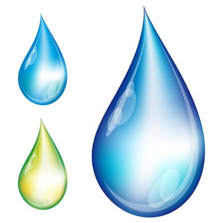 Set of water drops - Illustration for your design Ilustração Vetorial