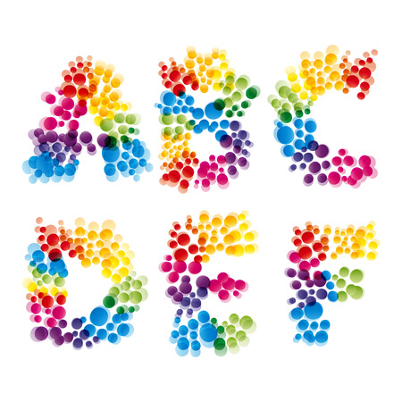 fun colors: set of alphabet elements made of bubbles.Illustration for your design. Illustration