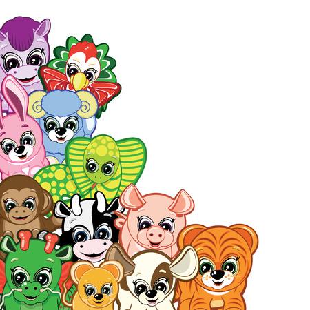 cow bells: Conjunto de animales de Little - s�mbolos del Hor�scopo Chino
