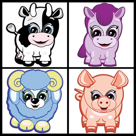 Set of Little Animals - Farm. Vector