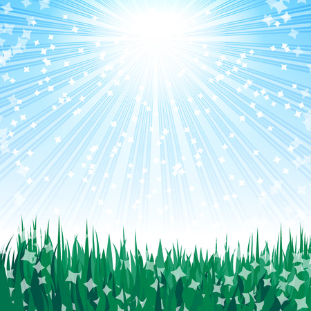 Green grass and blue sky. Illustration for your design. Stock Vector - 7061593